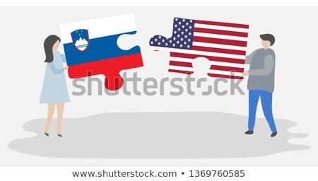 Stockfoto: USA · Slovenië · vlaggen · puzzel · vector · afbeelding