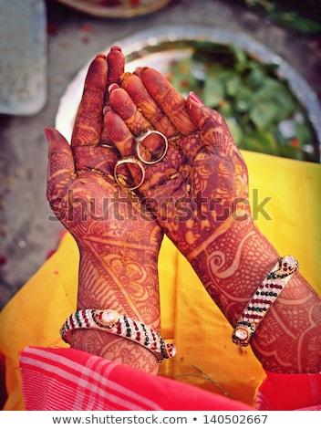 Indian bride doing marriage rituals Stock photo © ziprashantzi