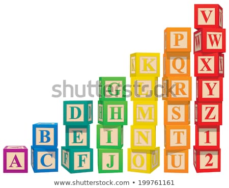 Foto stock: Brinquedo · de · madeira · blocos · cartas · números · isolado · branco