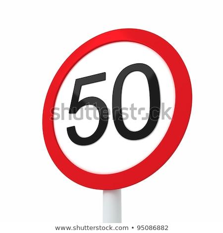 Szám ötven út kerekek 3d illusztráció autó Stock fotó © drizzd