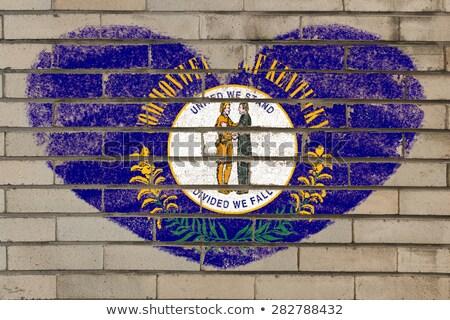 A forma di cuore bandiera Kentucky muro di mattoni cuore Foto d'archivio © vepar5