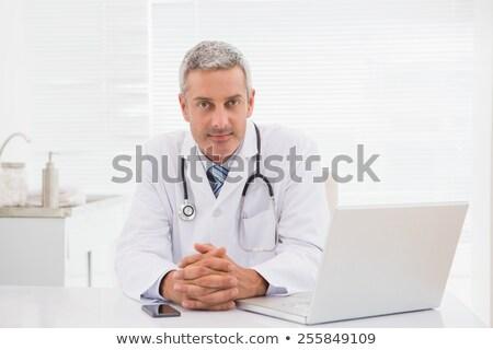 Foto stock: Sorridente · médico · sessão · secretária · médico · arquivos