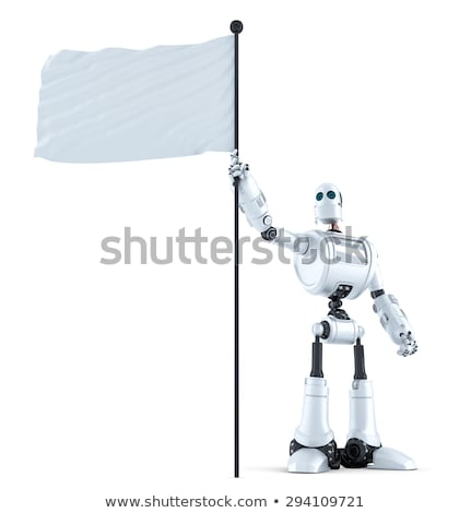 robot with waving blank flag isolated contains clipping path stock photo © kirill_m