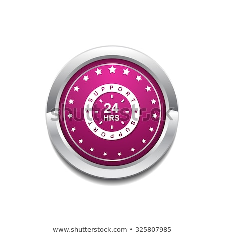 Stock photo: 24 Hours Service Pink Vector Button Icon