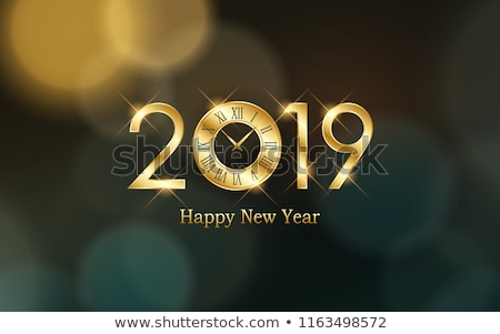Merry christmas happy new year gold pattern retro Stock photo © cienpies