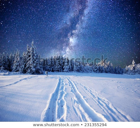 schemering · winter · avond · landschap · berg · hut - stockfoto © kotenko