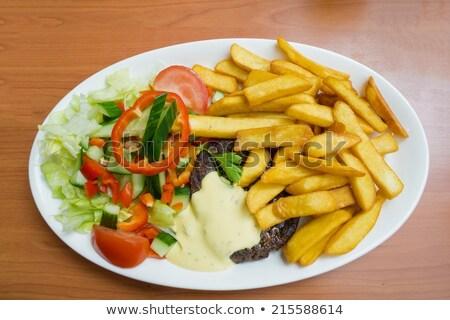 ステーキ ソース 食品 木材 ディナー 肉 ストックフォト © phila54