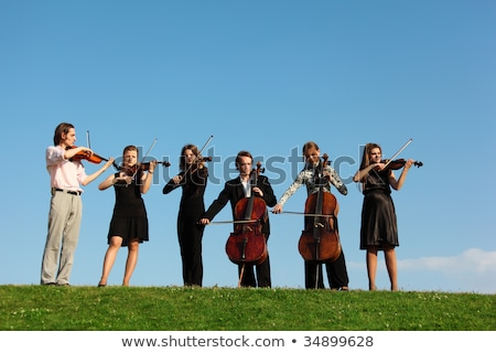 Six violinists stand on  grass against sky Stock photo © Paha_L
