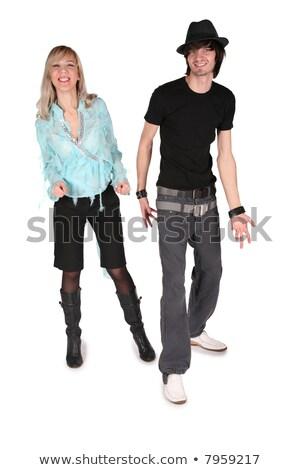 girl in cyan blouse dances with boy in black hat on white Stock photo © Paha_L