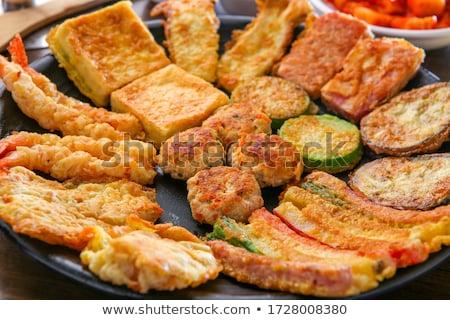 Tyúk nyárs pörkölt krumpli szeletek étel Stock fotó © Digifoodstock