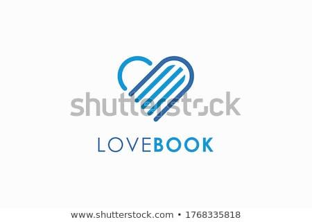 Creative livre coeur résumé vecteur logo Photo stock © chatchai5172
