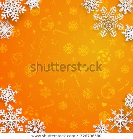 Noel · kar · taneleri · kâğıt · turuncu · semboller - stok fotoğraf © rommeo79
