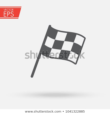 two checkered flags line icon stock photo © rastudio