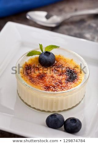 Creme Brule Custard Dessert with Fruit Garnish Stock photo © ozgur
