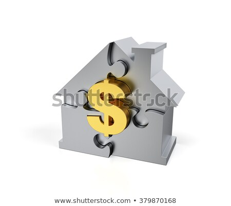 Steel Jigsaw Puzzle house with golden dollar sign stock photo © DragonEye
