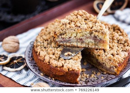 Elma kırıntı kek kırmızı kahvaltı Stok fotoğraf © Digifoodstock