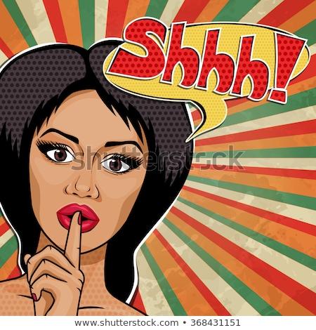 Silencio mujer dedo labios feliz Foto stock © iko
