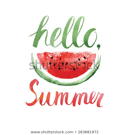 watercolor watermelons and lettering hello summer stock photo © sdmix