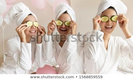 Boldog barátságos fiatal nő fehér fürdőkád köntös Stock fotó © dash