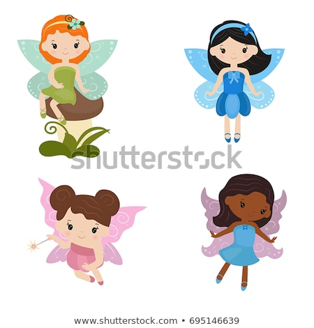 Foto stock: Temporadas · fadas · meninas · isolado · moda · criança