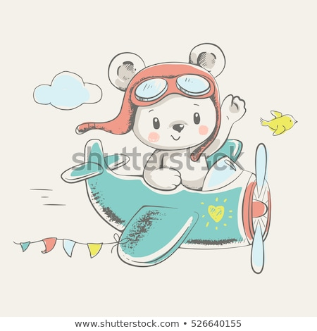 baby boy shower card with little  teddy bear Stock photo © balasoiu