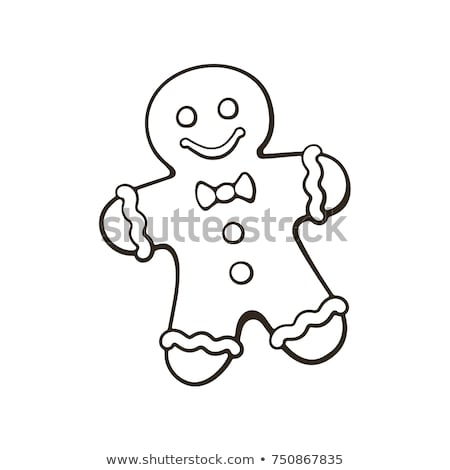 doodle gingerbread man icon stock photo © pakete