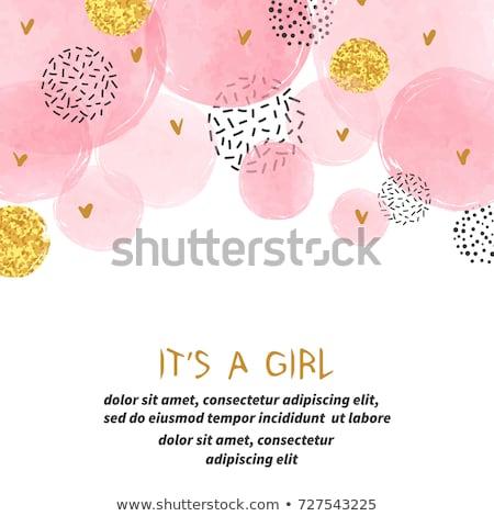 kislány · zuhany · kártya · vektor · eps10 · baba - stock fotó © balasoiu
