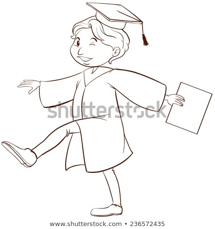 a plain drawing of a boy graduating stock photo © bluering
