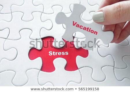 Puzzle Wort Stress Puzzleteile Bau helfen Stock foto © fuzzbones0