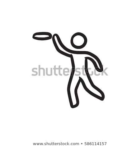 Man with flying disc sketch icon. Stock photo © RAStudio