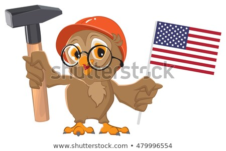 Labor Day USA. Owl holding hammer and American flag Stock photo © orensila