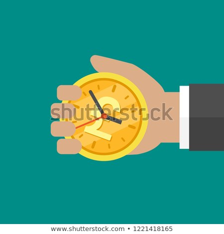 Stock photo: Golden clock on turquoise background