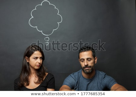 young casual couple woman is thinking stock photo © feedough