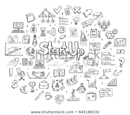 Stockfoto: Raket · schets · icon · vector · geïsoleerd
