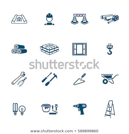 vektor · építkezés · téglák · izolált · fehér · munka - stock fotó © sahua