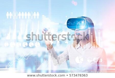 woman wearing virtual reality headset sketch icon stock photo © rastudio