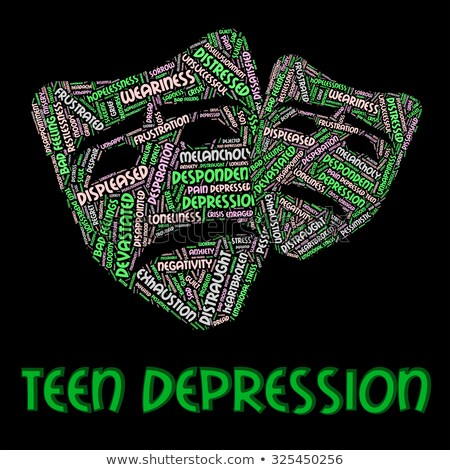 Stok fotoğraf: Depressed Word Indicates Sorrow Despair And Distress