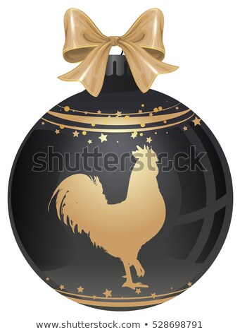 Golden Rooster symbol 2017 by Chinese calendar. Black luxury Christmas ball with gold cock Stock photo © orensila