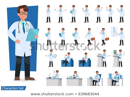 vektor · szett · orvos · betűk · nő · ül - stock fotó © RAStudio