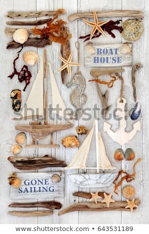 Decorative Sailing Boats, Signs, Seashells and Driftwood  Stock photo © marilyna