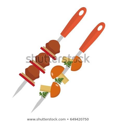 Shish kebab on skewers with pork and mushrooms icon, flat style. Isolated on white background. Vecto Stock photo © lucia_fox