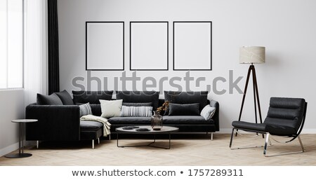 three mock up poster in a blue room stock photo © andreasberheide