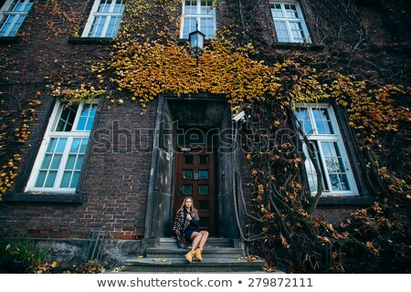 Girl sitting on old house stairs Stock photo © svetography