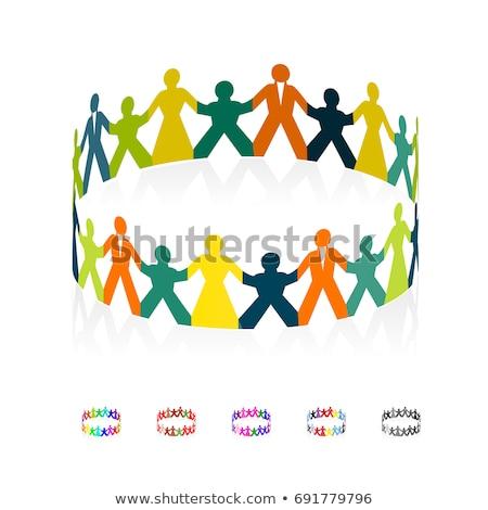 papel · pessoas · círculo · de · mãos · dadas · pessoas · do · grupo · isolado - foto stock © m_pavlov