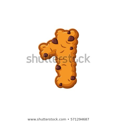 Number 1 cookies font. Oatmeal biscuit alphabet symbol one. Food Stock photo © popaukropa