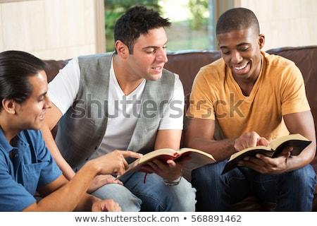 aile · İncil · çalışma · anne · okuma · birlikte - stok fotoğraf © lincolnrogers