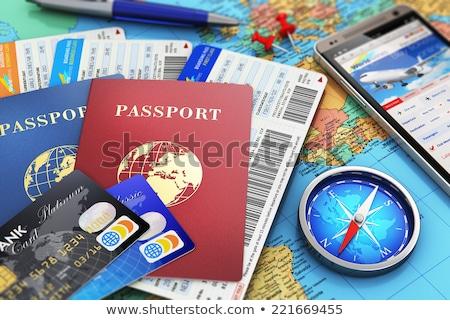 útlevél · személyi · igazolvány · sablon · illusztráció · nyitva · irat - stock fotó © oblachko