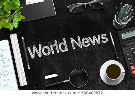business news concept on black chalkboard 3d rendering stock photo © tashatuvango