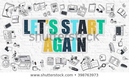 começar · ilustração · vermelho · branco · placa · sinalizadora · de · volta - foto stock © tashatuvango