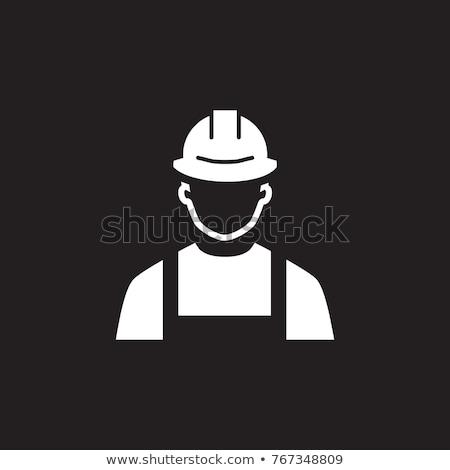 Mérnök ikon férfi védősisak szimbólum vonal Stock fotó © WaD